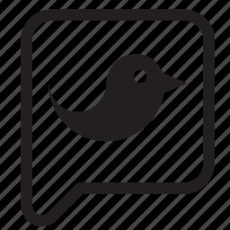 balloon, bird, bubble, chat, speech, talk, twitter icon