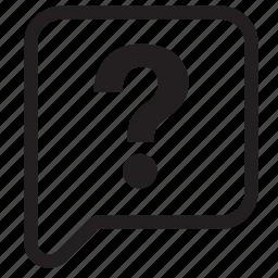balloon, bubble, chat, mark, question, speech, talk icon
