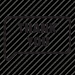 balloon, bubble, chat, conversation, speech, talk, thank you icon