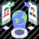 global communication, international network, social communication, worldwide communication, global social network icon
