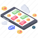 chat emoji, emoticons conversation, emotion, emotions, mobile emotags, online communication icon