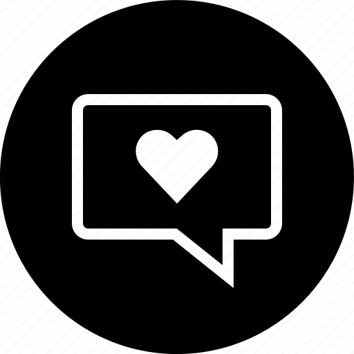 bubble, chat, conversation, heart, media, message, text icon