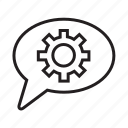 bubble, chat, cogwheel, communication, settings, speech, talk icon
