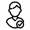 approve, approvement, avatar, check, man, user avatar, verify icon