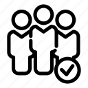 approval, communication, group, people, sign, success, team icon