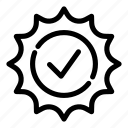 badge, check, checkmark, choice, correct, mark, sign icon