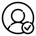 approve, approvement, avatar, check, secure, user avatar, verify icon