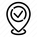 approve, check, location, map pin, navigation, place, verify icon