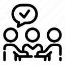 business, conversation, discussion, guarantee, negotiation, talk, verify icon