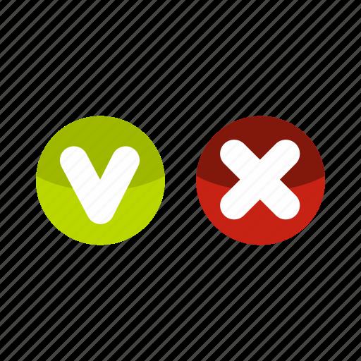 circles, close, cross, delete, fat, tick, wrong icon