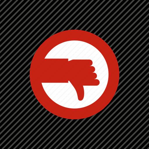 circle, down, hand, mark, no, shape, wrong icon
