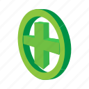 cartoon, cross, emergency, green, help, medical, medicine icon