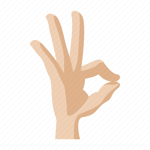 cartoon, finger, gesture, hand, ok, sign, success icon