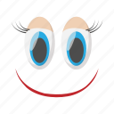 cartoon, emotion, eye, face, funny, happy, smile icon