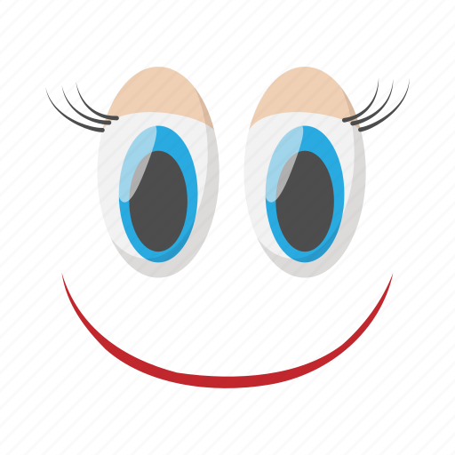 cartoon, emotion, eye, face, funny, happy, smile icon