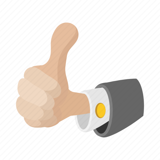 cartoon, finger, good, hand, sign, success, up icon