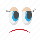 cartoon, disappointment, emotion, eyes, face, hurt, unhappy icon