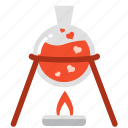 boil, experiment, laboratory, love, mixture, test, valentine icon