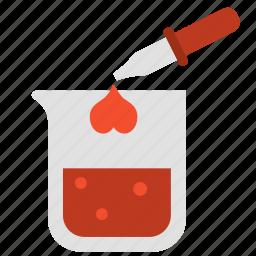 beaker, chemistry, drop, heart, love, mixture, valentine icon