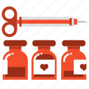 injection, love, medical, medicine, syringe, vaccine, valentine icon