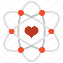 atom, heart, love, physic, romantic, science, valentine icon