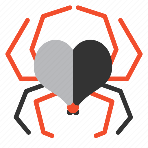 bug, heart, love, romantic, spider, valentine, virus icon