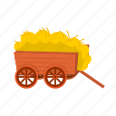 cart, chicken coop, farm, litter, production, straw icon