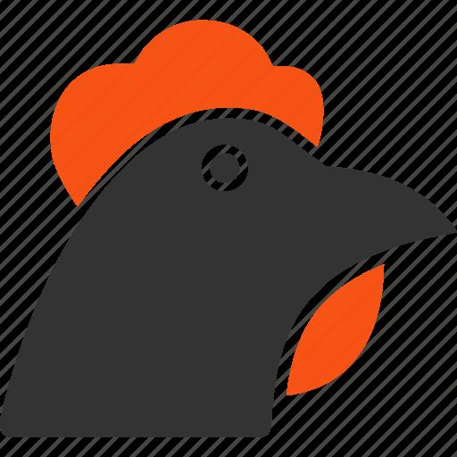 agriculture, bantam, bird, chicken, cock, farm, hen head icon