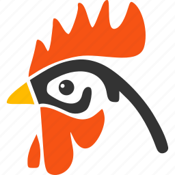 agriculture, bantam, beak, chicken, cock head, doodle, rooster icon