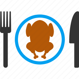 cooking, dish, food, meat, plate, roasted chicken, turkey icon