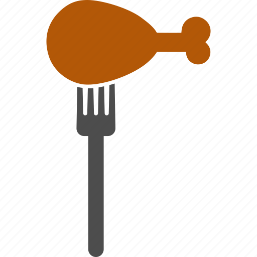 chicken leg, dinner, eating, fastfood, fork, meal, meat icon
