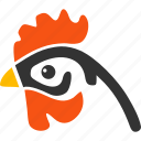 agriculture, bantam, chicken, cock head, hen, profile, rooster icon