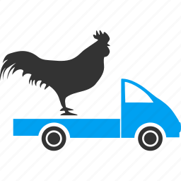 chicken, cock, delivery, shipment, shipping, transport, transportation icon