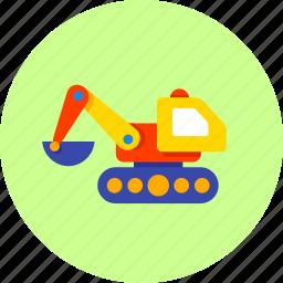 baby, building, bulldozer, construction, excavator, infant toy, newborn icon