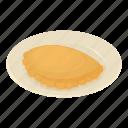 cheburek, food, fried, isometric, logo, lunch, object