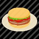 bread, bun, burger, calorie, isometric, logo, object