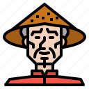 asia, bamboo, china, chinese, hat icon
