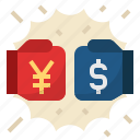 american, china, china and us trade war, dollar, tradewar, yuan icon