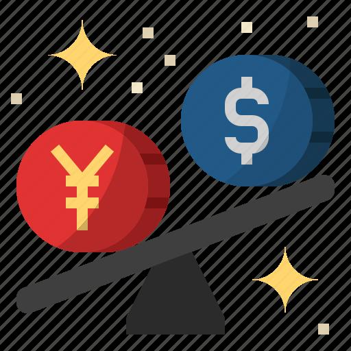 china, china and us trade war, currency, dollar, us dollar appreciate, yuan icon