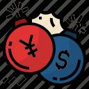 bomb, china, china and us trade war, dollar, usa, yuan icon