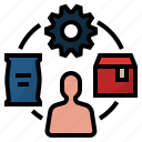 distribution, factory, manufacture, production, supply chain icon