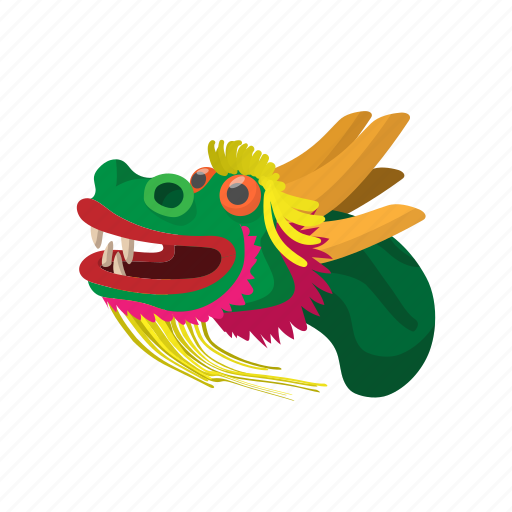 animal, cartoon, china, dragon, head, mascot, tattoo icon