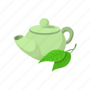 cartoon, green, leaf, shape, single, tea, teapot