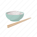 bowl, cartoon, chinese, diet, food, grain, rice icon