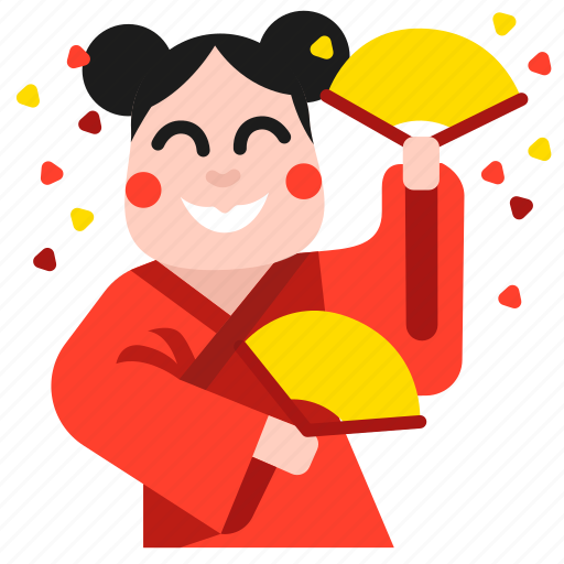 celebration, chinese, dance, dancing, girl, happy, lion icon