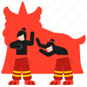 celebration, chinese, dance, inside, lion, performers, puppet icon