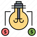 bulb, dollar, idea, solution