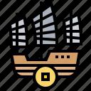 chinese, sailboat, ship, transport, transportation