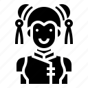 avatar, chinese, girl, uniform, woman icon