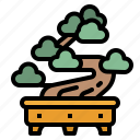 bonsai, botanical, japan, nature, plant icon